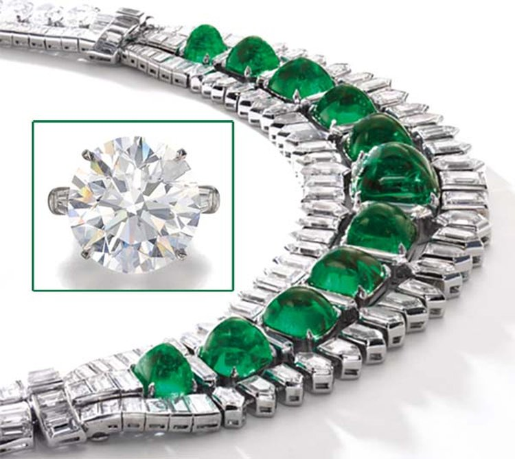 Socialite's Emerald Necklace, 36-Carat Diamond Share Spotlight at Sotheby's Geneva